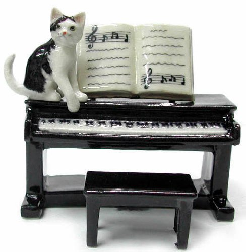 CAT Black and White sits on PIANO w/Sheet Music MINIATURE New Porcelain NORTHERN ROSE R244