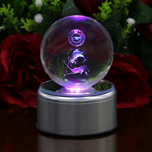 3D Crystal Ball Constellation Gift LED Lighting Astronomy Nebula 7 Colors Optical Illusion 3D Lamp Laser Engraving Valentine Children's Day (Pisces)