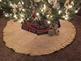 "Christmas Holiday Decor - Burlap Jute Ruffled Tree Skirt. Xmas Ivory Creme 46 Inch "" Round -Includes Bonus Cork Christmas Tree Ornaments."