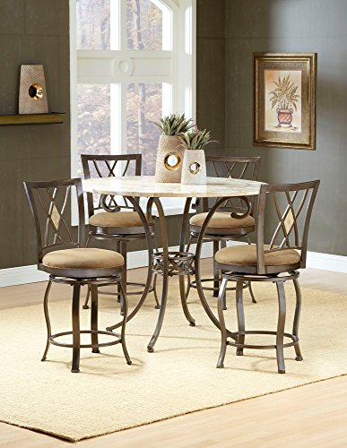 Hillsdale Brookside 5-Piece Fossilstone Counter Height Dining Set with Diamond Stools