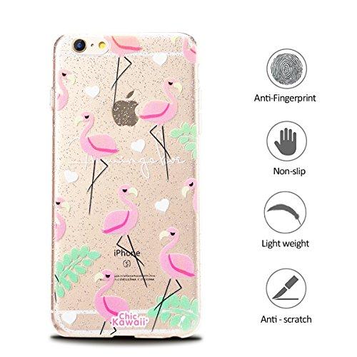 Funda iPhone 6 6s (4.7) Suave Transparente Delgado Gel Silicona TPU Case para Apple iPhone 6 / 6s E-Lush Cristal Blanda Protectora Cover Caja [Flash point] Claro Flexible Absorción y Anti-Arañazos Ca Flamenco