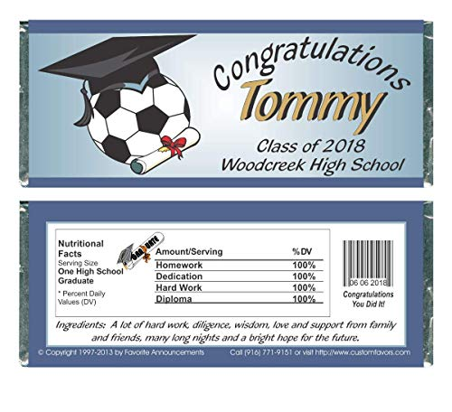 Soccer, Baseball or Football Theme Graduation Party Favors, Candy Bar Wrappers, fits a chocolate bar, Personalized (set of 12)(Wg39, W173, W497) -