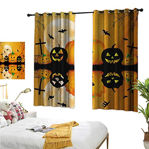 Warm Family Double Curtain Rod Halloween,Spooky Carved Halloween Jack o Lantern and Full Moon with Bats and Grave Lake,Orange Black 84