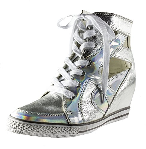 Amiana Girl's High Top Wedge Fashion Sneaker, Silver Metallic, 29 EU / 11.5 (Cheap Shoes For Teen Girls)