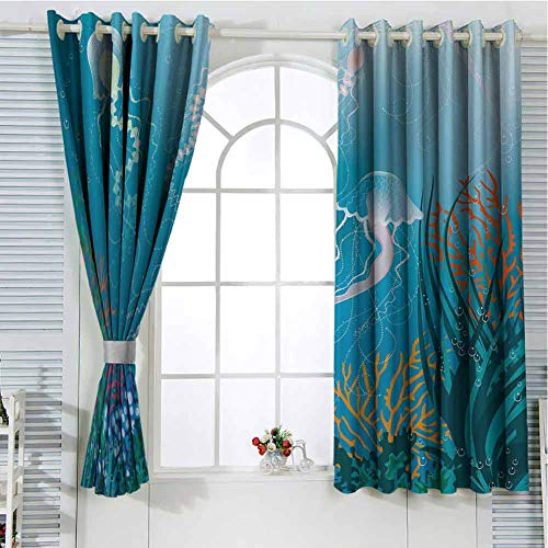 hengshu Aquarium Curtains for Sliding Glass Door Artistic Jellyfishes Swimming Under The Sea Coral Reef Plants Oceanic Fauna Room Decor Blackout Shades W42 x L84 Inch Blue Pink Orange (Tank Lsu Fish)