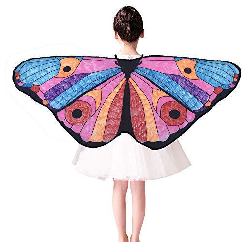 m·kvfa Kids Child DIY Butterfly Cape Wings Creative Angel Wings Dress up Costume Birthday Gifts for Kids (E)]()