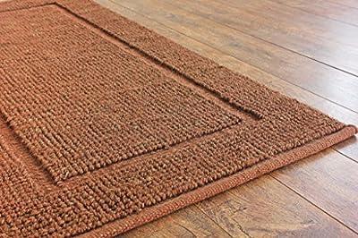 Hot Weave Handwoven and Handmade 2'x4' Brown Loop Pile Jute Bordered Rug, Style 1294
