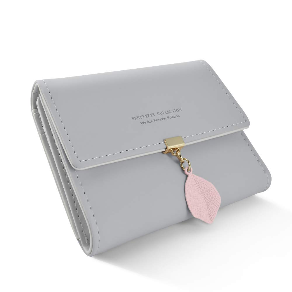 DLseego Small Wallet for Women PU Leather Leaf Pendant Card Holder Organizer Zipper Coin Purse