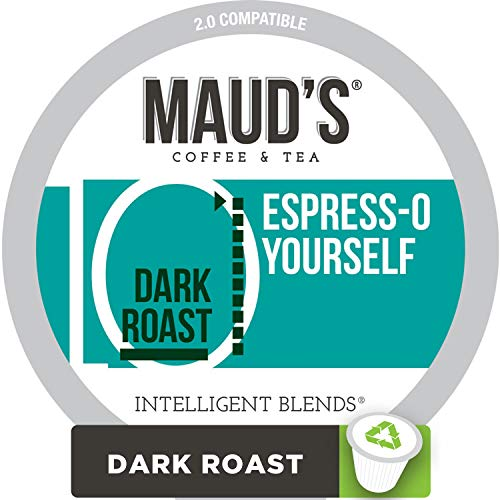 Maud's Dark Roast, Espresso Blend Coffee (Espress-O Yourself), 100ct. Recyclable Single Serve Coffee Pods - Richly satisfying arabica beans California Roasted, k-cup compatible including -