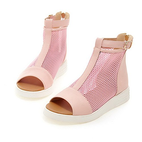 AgooLar Mujeres Cremallera Puntera Abierta Mini Tacón Cuero Sólido Sandalia Rosa
