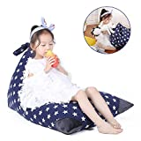Jorbest Toy Storage Organiser Childrens Bean Bag Chair Kids Pouf, Premium Cotton Canvas Cover, Kids Soft Toy Organizer Makes Comfy Lounger Bed (COVER ONLY) - Navy with White Stars, Fits 100L/26 Gal