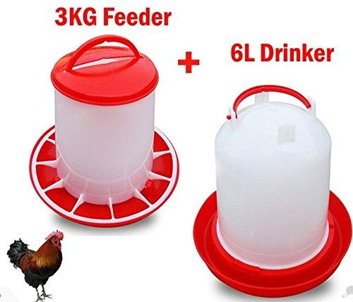 Poultry Bird Chicken Drinker 6L and 3kg Feeder