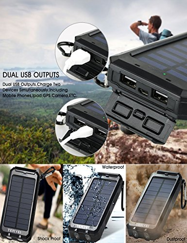 Portable Power Banks Portable Solar Phone Charger Teryei 15000mAh Solar  Power Bank External Backup Outdoor Cell Phone Battery Charger with Dual USB