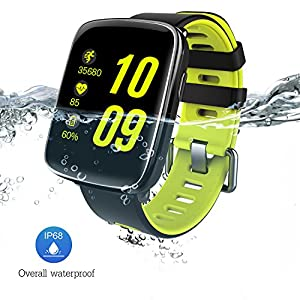 FLDOLPH Smart Watch with 1.54 inch TFT HD LCD Display Waterproof IP68 Water Resistant for Swimming Hear Rate Pedometet Sports Bluetooth Smartwatches Compitable for iOS and Android Smartphones (Green)