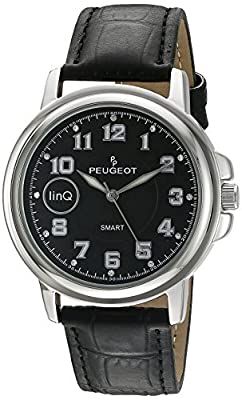 Peugeot linQ Stainless Steel Bluetooth Smart Connected to Mobile Phone Black Leather Dress Watch from Peugeot