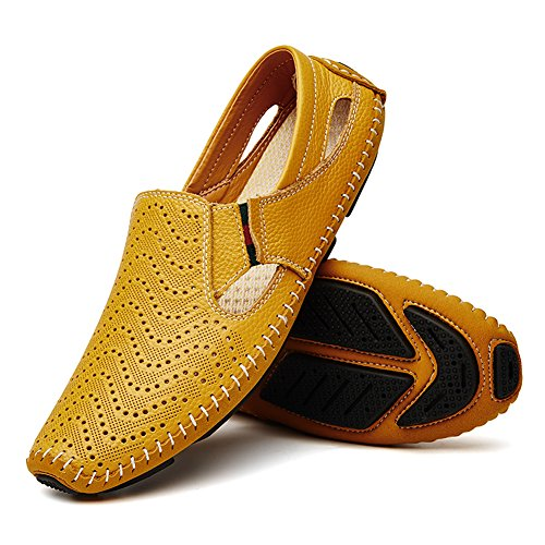 Driving 2 Summer Slipper Shoes Yellow Casual Shoes Slip Leather Fashion Noblespirit Men's on Loafers in 56wq1qp