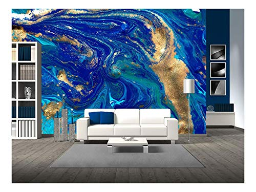 wall26 - Marbled Blue Abstract Background. Liquid Marble Pattern. - Removable Wall Mural | Self-Adhesive Large Wallpaper - 100x144 inches