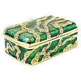 Apropos Small Vintage Style Exotic Zebra Pattern Rhinestone Trinket Box, Jewelry Box (Green Zebra)