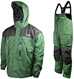 Frabill F2 Surge Fishing Rain Suit includes Jacket Coat Pants Bibs (Green, XX-Large)