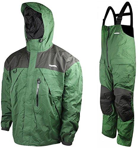 Frabill F2 Surge Fishing Rain Suit includes Jacket Coat Pants Bibs (Green, XX-Large)