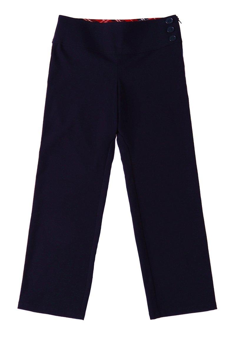 Bienzoe Girl's School Uniforms Stretchy Polyester Adjust Waist Flat Front Pants Navy 6X