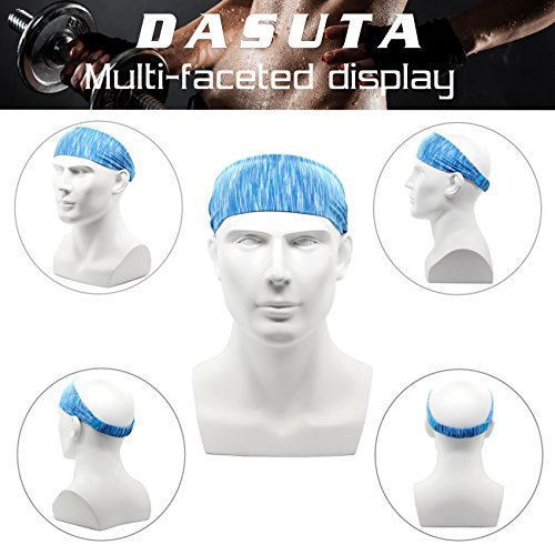 Set of 10 Women's Yoga Sport Athletic Workout Headband For Running Sports Travel Fitness Elastic Wicking Non Slip Lightweight Multi Style Bandana Headbands Headscarf fits all Men & Women (10 Colors) by DASUTA (Image #4)
