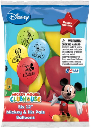 Disney Mickey and His Pals Balloons 12'' - Total 36 (6 packs of 6 each) by Pioneer National Latex