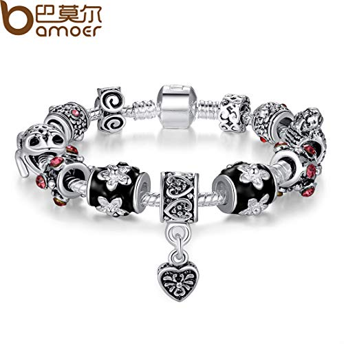 Ploy Pailin Bamoer Christmas European 925 Silver Charm DIY Bracelets with Black Murano Bead