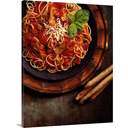 GREATBIGCANVAS Gallery-Wrapped Canvas Entitled Basil Pasta with Bread Sticks by 38