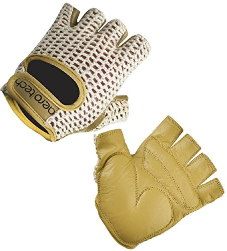 AERO|TECH|DESIGNS ATD Gel Padded Leather Cotton Crochet Fingerless Cycling Gloves (Medium)