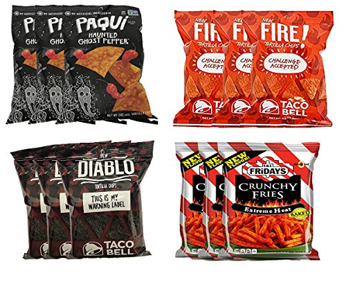 Hot Chips Variety Pack Challenge Accepted. Paqui Ghost Pepper, Taco Bell Fire and Diablo, TGI Fridays Extreme Heat. 3 Bags of Each Flavor, Gluten Free
