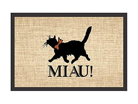 Retro Felpudo diseño de MIAU regalo gato felpudo para gatos: Amazon.es: Hogar