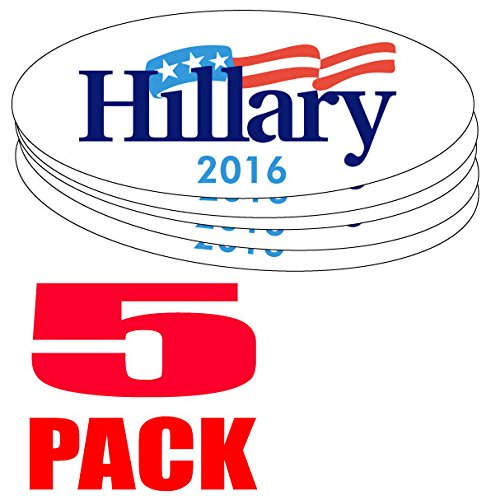 """FIVE PACK BUMPER STICKERS: Oval Hillary 2016 - Clinton Wholesale Priced Unbranded Vinyl 3"""" x 8"""""""