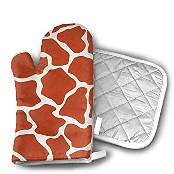 NoveltyGloves Pot Holders and Oven Mitts 1 Hot Pads and 1 Potholders Set with Giraffe Print
