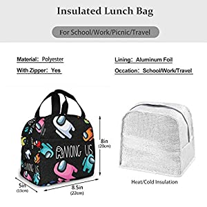 Lunch Box Tote Lunch Bag Insulated Portable Game Lunch Box Handbags For Adults Women Men Kids Teens (Color: Among Us9, Tamaño: One Size)