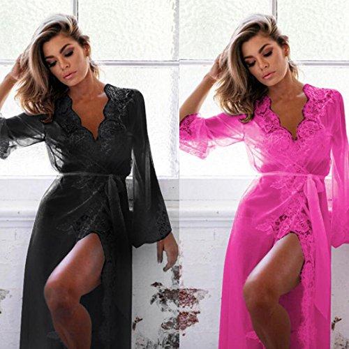 FAMILIZO Mujeres Lace Lingerie Babydoll Vestido Pijamas Ropa interior Ropa de dormir Camisones Rosa caliente