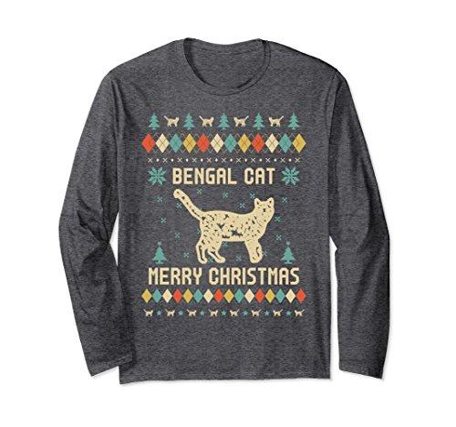 Unisex BENGAL CAT Ugly Christmas Sweater Long Sleeve T-Shirt 2XL Dark Heather