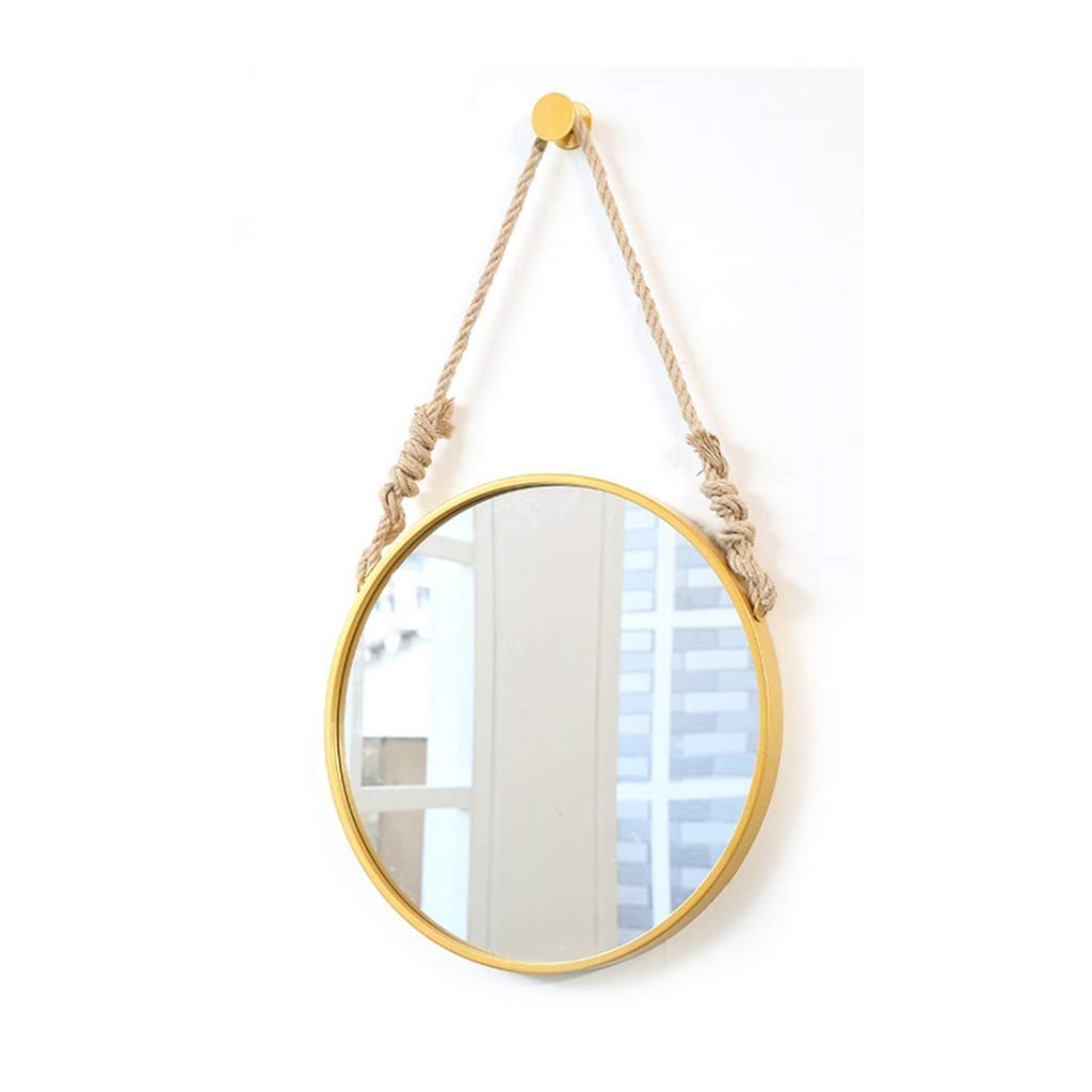 gold 60CM SMC Mirror Nordic Home Simple Wrought Iron Dressing Mirror Wall Hanging Round Decorative Mirror (color   gold, Size   60CM)