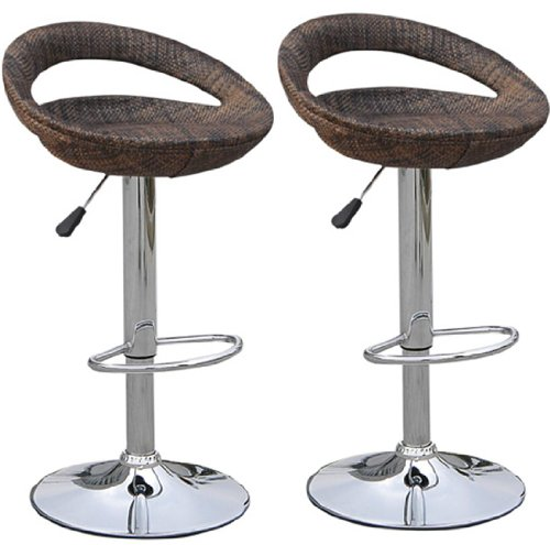 HomCom Modern Adjustable Pub Swivel Barstool 2 pack - Rattan Wicker 2 Rattan Bar Stools