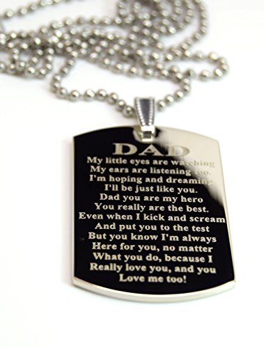 Interway Trading Dad Message Engraved High Polished Stainless Steel Dog Tag Necklace Pendant with 24 inch Stainless Steel Chain Giftpouch and Keyring
