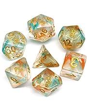 HD DICE Oranje & Blauw DND Dobbelstenen voor kerkers en draken (D & D) RPG Pathfinder Rolspelen Game Polyhedral Dobbelstenen met kleur veranderende ster