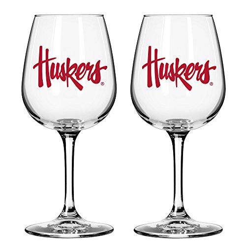 NCAA Nebraska Cornhuskers Game Day Wine Glass, 12-ounce, 2-Pack
