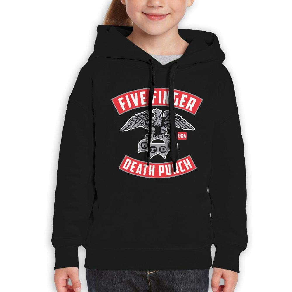 Guiping Five Finger Death Punch1 Boys and Girls Pullover Hooded Sweatshirt Black L