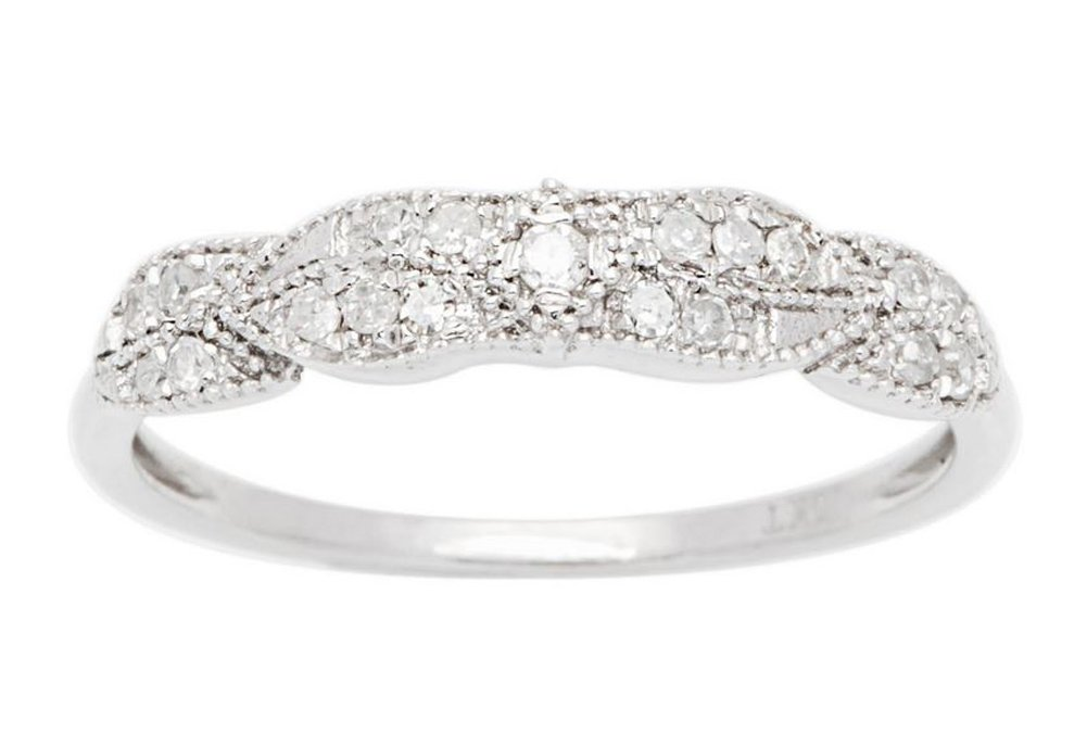 10k White Gold Diamond Vintage Style Anniversary Ring (1/7 cttw, I-J Color, I2-I3 Clarity) by Instagems