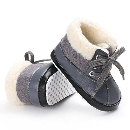 Linkey Babyjongens Suède Metallic Leer Stiksels Vacht Gevoerde Enkellaarsjes Met Veterlaarzen Grijs