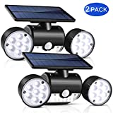 Solar Lights Outdoor, UNIFUN 30 LED Waterproof Solar Powered Wall Lights with Dual Head Spotlights 360-Degree Rotatable...