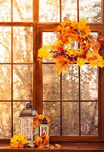 - Yeele 8x10ft Autumn Background for Photography Fall Sunset Window Wreath Chaplet Leaf Berries Pumpkins Lantern Photo Backdrop Thanksgiving Man Children Kid Portrait Shoots Studio Props Wallpaper