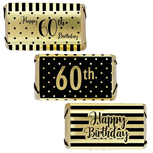 Black and Gold 60th Birthday Mini Candy Bar Wrappers | Shiny Foil | 45 Count