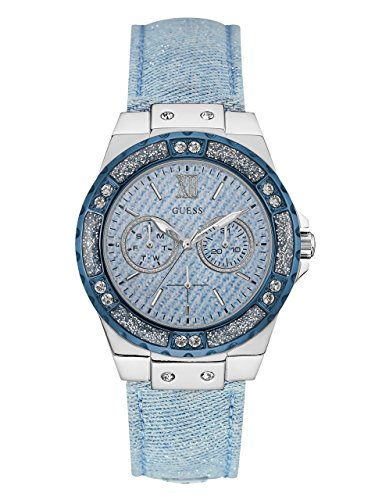 GUESS-Womens-U0775L1-Sporty-Silver-Tone-Stainless-Steel-Watch-with-Multi-function-Dial-and-Blue-Strap-Buckle
