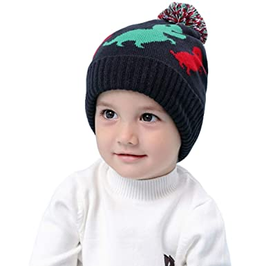 eb95ee0a6ccd Miyanuby Toddler Kids Winter Dinosaur Printed Earflap Beanie Hat Boy Girl  Warm Pompom Knit Hats for 0-4 Years  Amazon.co.uk  Clothing
